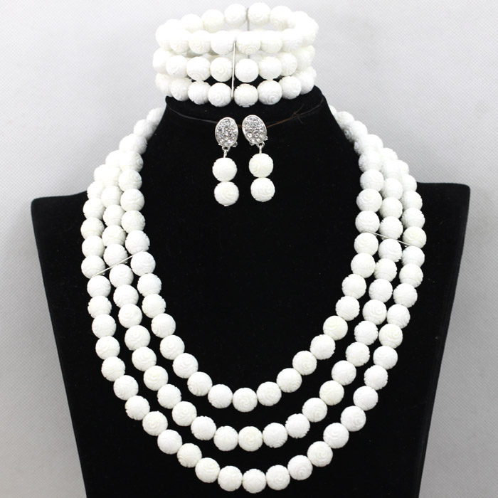 Graceful 3 Layers White Coral Beads Necklace Bracelet Earrings Jewelry Set Women Wedding Party Jewelry Set Free Shipping QW686 цена 2017