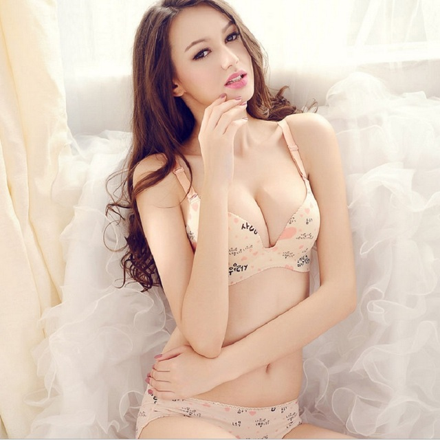 Cute And Sexy Womens Catton Korean Skin Colour Bras Set -9377