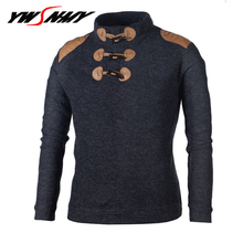 New Korean version of the self-cultivation stand collar long-sleeved sweater fashion personality button men's Casual Pullover