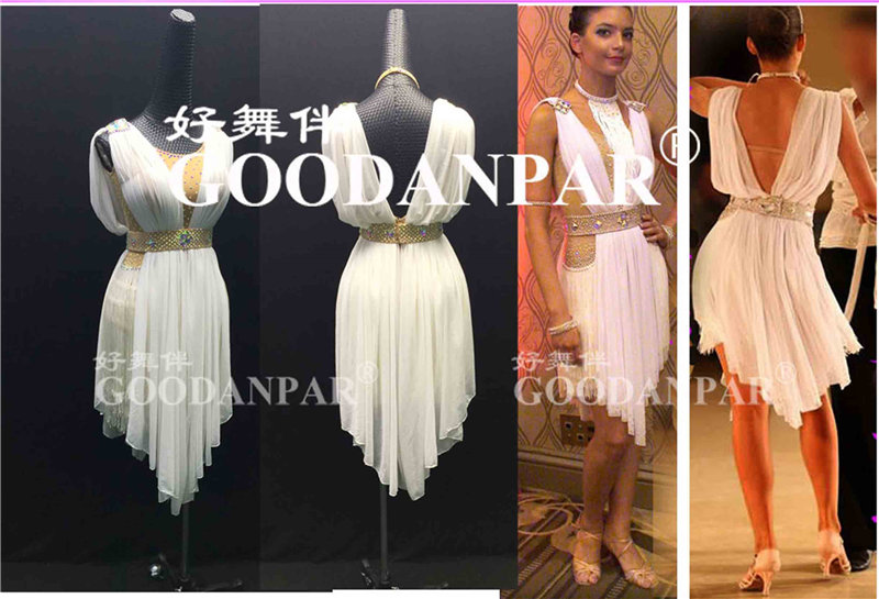GOODANPAR White Elegant Round Neck Fringe Rhinestone Lycra Latin Dress Women Waltz Costume Competition Clothes Stage Dance Wear