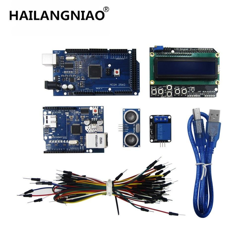 new Mega 2560 r3 fo kit + HC-SR04 +breadboard cable + relay module+ W5100 UNO shield + LCD 1602 Keypad shield uno shield ethernet shield w5100 r3 uno mega 2560 1280 328 unr r3 only w5100 development board for arduino