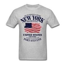 Normal Short Sleeve Organic Cotton New York Manhattan USA Flag Men t shirt men shirt Hot Selling