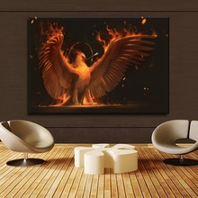 Fire Phoenix Painting 1 Piece Style Canvas Print Type Picture Modern Home Decorative Wall Artwork Poster Framework Or Frameless