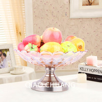 European Style Fruit Dish Luxury High grade Glass Large Fruit Bowl Tea Table Decorations Living Room Furnishing Articles S459