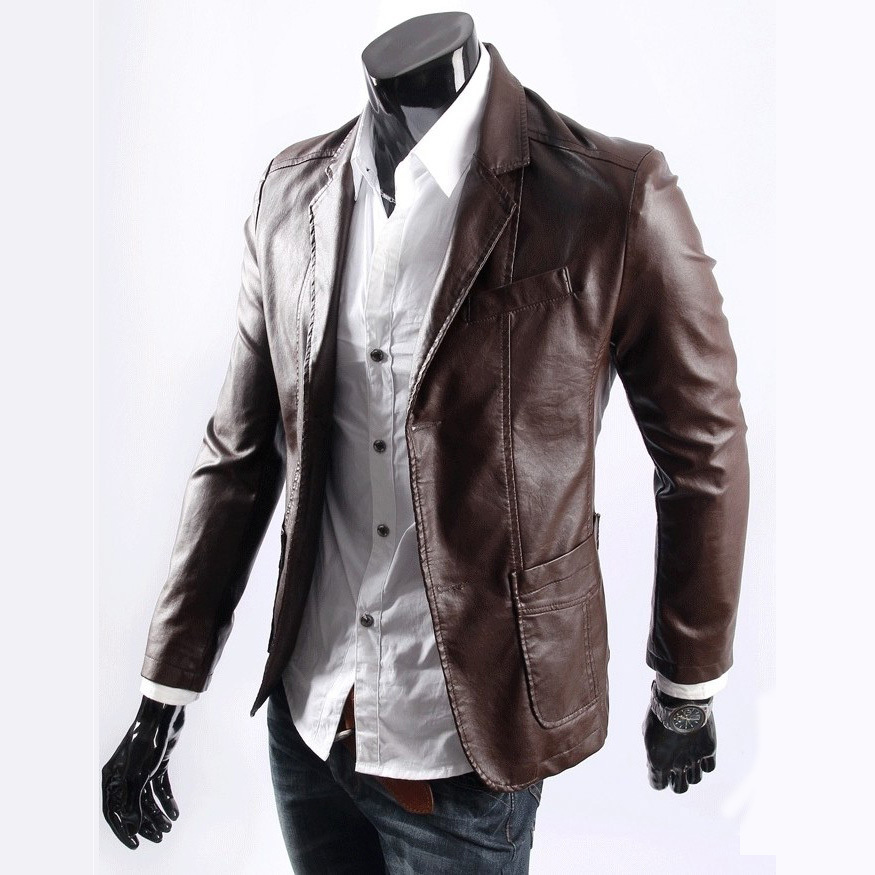 Mens Brown Leather Blazer Jacket - Coat Nj