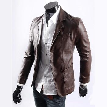 M-7xl 2020 Spring New Men's Fashion Plus Size Leather Suit Blazer Leather Clothing Men Slim Pu Leather Coat Male Korean Jackets