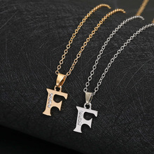 America 26 English word Letter F Family name sign pendant Necklace tiny USA alphabet Initial monogram charm necklace