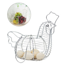 Fruits Eggs Storage Holder Iron Wire Hen Shape Eggs Basket Metal Storage Rack Household Food Container Kitchen Storage Tools