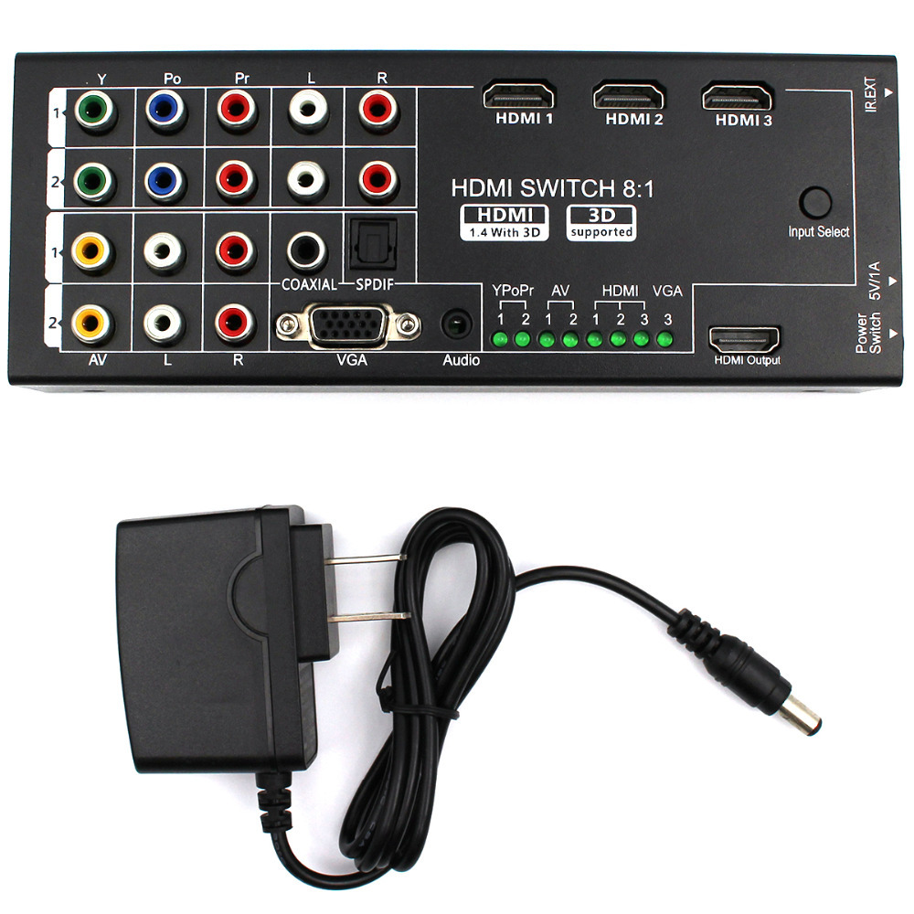 Multi functional HDMI Converter Switch 8 Inputs to HDMI+COAXIAL+SPDIF Output Support 3D and Surround Sound for 1080P HDTV