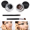 Eye Makeup 2 in 1 Brown + Black Gel Eyeliner Make Up Water-proof Smudge-proof Set Eye Liner Kit With Brushes
