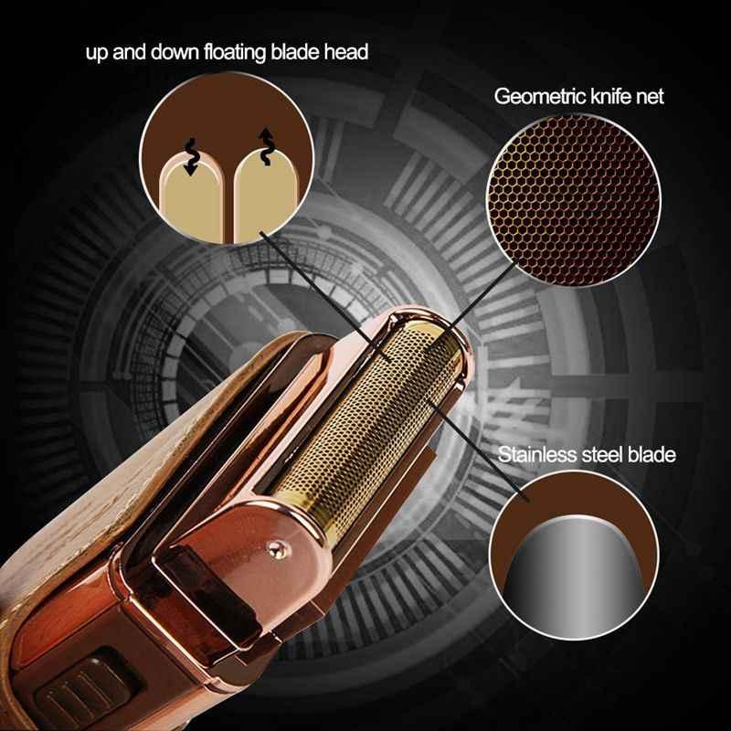Funda de cuero Kemei km-5600 2 en 1 para hombre, Afeitadora eléctrica, recargable y sin cable, Marrón Vintage
