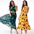 Novos vestidos de verão 2016 plus size mulheres vestidos boêmios ty3091 ponto onda chiffon impresso longo casual dress com cinto