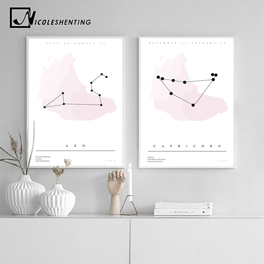 Twelve Constellations Nursery Wall Art Canvas Posters Zodiac Astrology Sign Prints Painting Nordic Kids Decoration Pictures