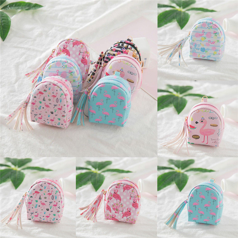 Frauen Mini Flamingo Münze Tasche Brieftasche Handtasche Geldbörse Schlüssel Kette Schlüsselring Einfach Und Leicht Zu Handhaben