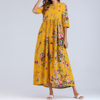 Women Half Sleeve Ruched Casual Thin Floral Cotton Loose Bohe Long Dress Kaftan #4S19