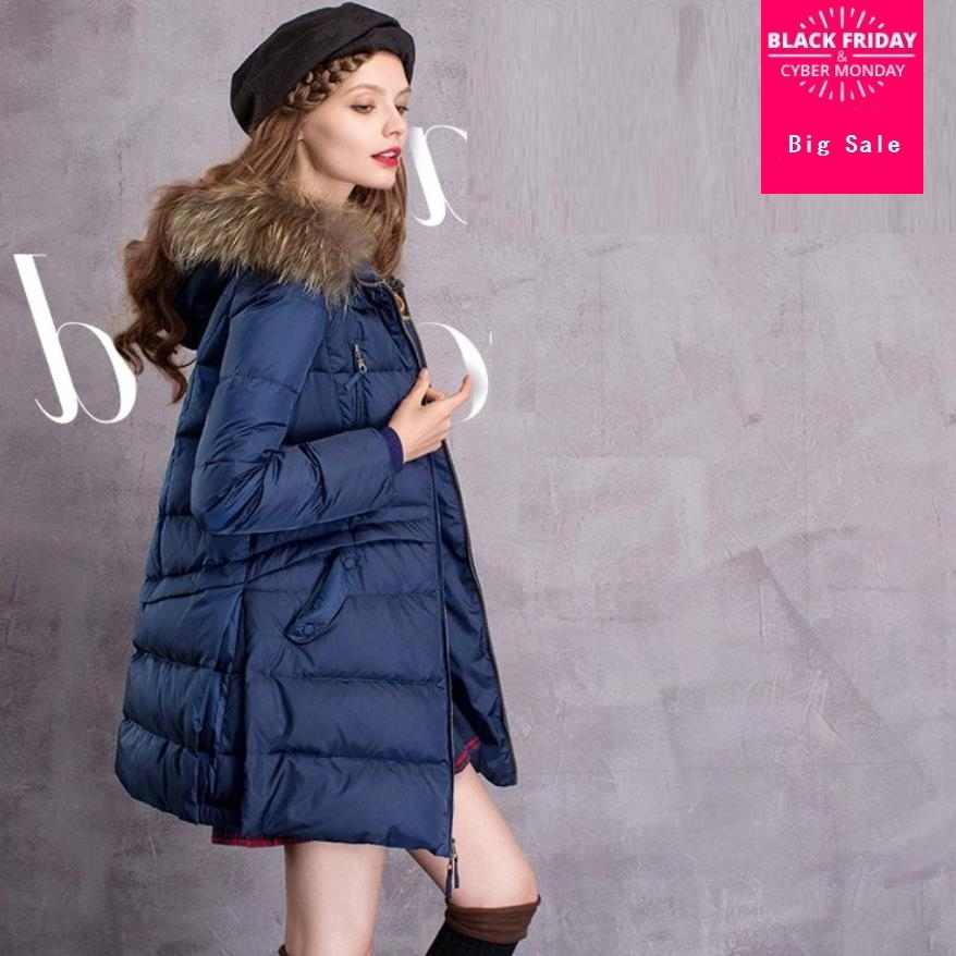Winter fashion brand real raccoon fur hooded   down     coat   female fur   coat   was slim thicker warm   down     coats   wq553 dropship