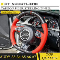 Upgrade Carbon Fiber Leather Steering Wheel cover Replacement Accessories without buttons airbag paddle For Audi A3 A4 A5 A6
