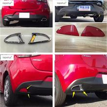 Lapetus Accessories Fit For Mazda 2 Demio 2015 - 2019 ABS Rear Tail Tailgate Fog Lights Lamp Frame Molding Cover Kit Trim Pcs