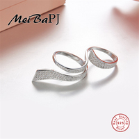 [MeiBaPJ]The Big European and American S925 Silver Drop Ring AAA Zircon Coloured Ribbon Ring For Women Fin Jewelry