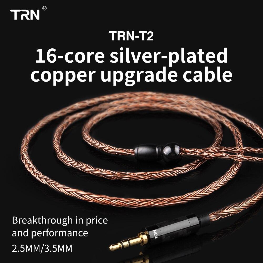 TRN 16 Núcleo de Prata Banhado A 2.5/3.5/4.4mm Cabo Balanceado Para 0.75 0.78 2pin/mmcx Conector hifi Cabo de Atualização Para TRN V80/KZ/TFZ