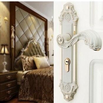 Ivory European style indoor high-grade bedroom zinc alloy silence solid wood door lock handle