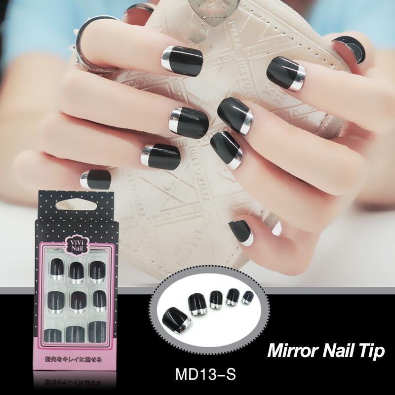 New Metallic Silver French False Nails Tip Black UV Short Full Cover ...