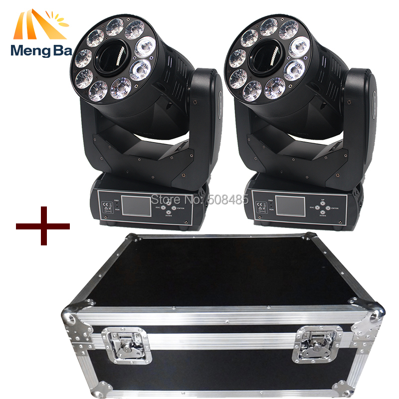 flight case with super 2pcs/lot 90W Spot+Wash 2IN1 Led Moving Head Light white+9x12W RGB ...