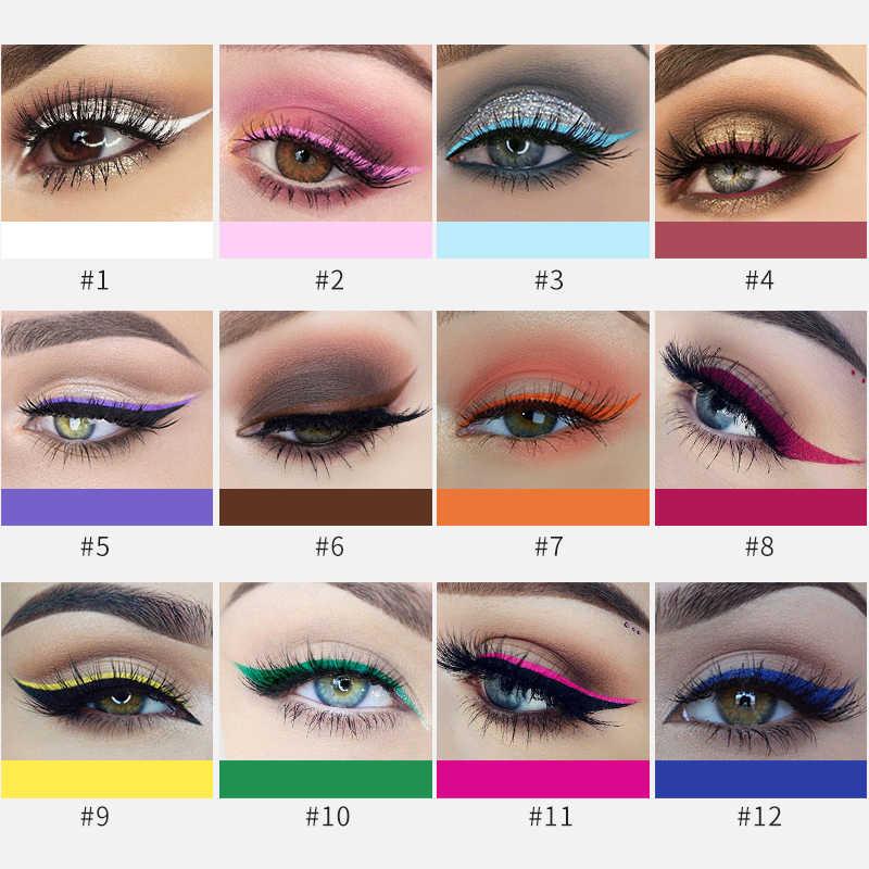 ... 12PCS/SET HANDAIYAN Matte Eyeliner Eyes Makeup Waterproof Yellow White Blue Pink Green Eyeliner Liquid ...