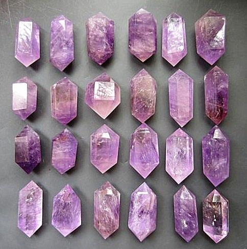 24 pcs Natuurlijke quartz crystal amethyst dual end toverstaf genezing. Huwelijkscadeau. Diamant schilderen - 3