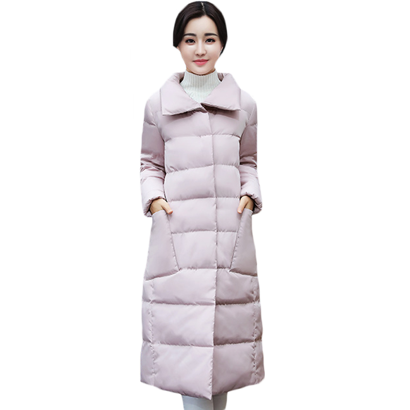 Female Stand Collar Warm Winter Long Jackets Parkas Coats Women Loose Thick Autumn Outwear Buttons Pockets Quilted Jacket XH1011 qazxsw 2017 new winter cotton coats women padded jacket for girls thick loose warm outwear stand collar casual long parkas hb251
