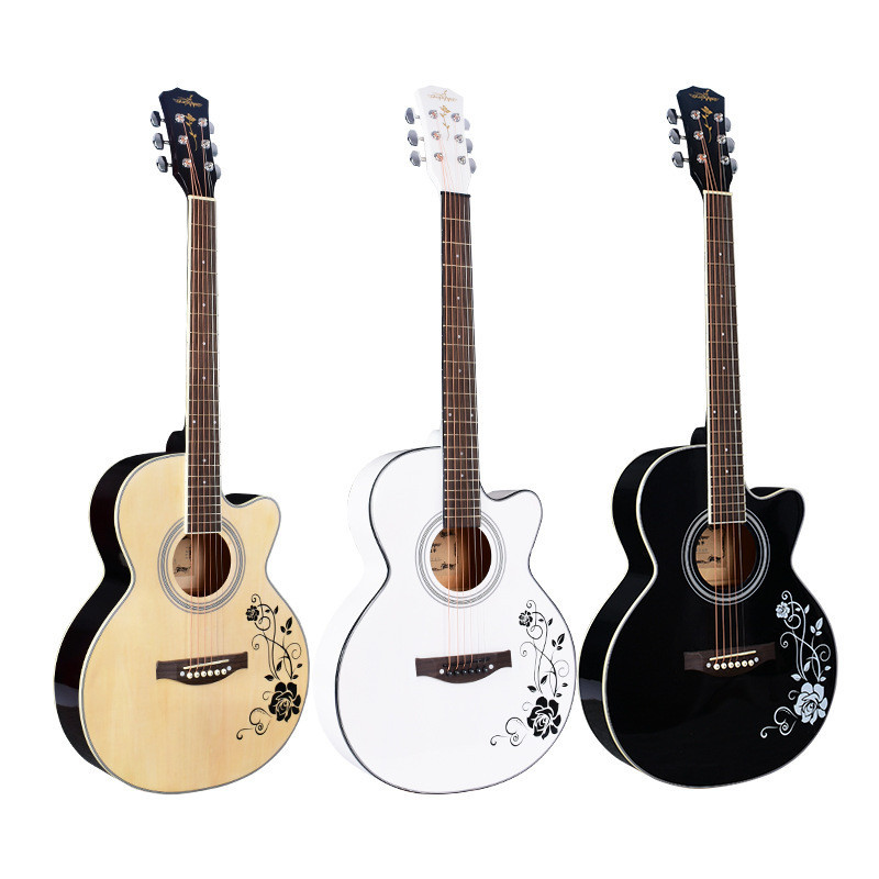 40 inch White black Wood Color Acoustic Guitar basswood body rosewood fingerboard guitarra with guitar tuner strings40 inch White black Wood Color Acoustic Guitar basswood body rosewood fingerboard guitarra with guitar tuner strings