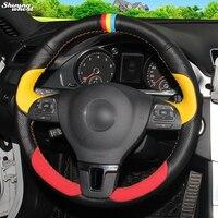 Shining wheat Black Yellow Leathe Red Suede Car Steering Wheel Cover for Volkswagen VW Gol Tiguan Passat B7 Passat CC Touran Jet
