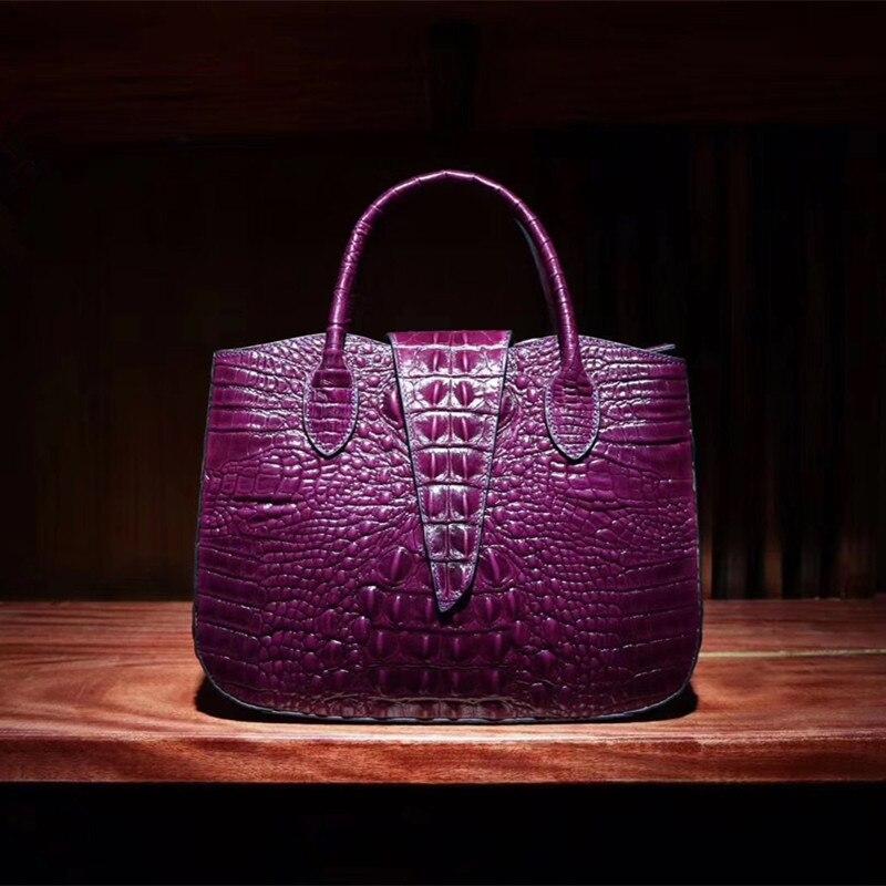 Bagaj ve Çantalar'ten Üstten Saplı Çanta'de Fantezi Timsah Tasarımcı Bayan Büyük Çanta Hakiki Inek Deri omuzdan askili çanta Kadın Çanta Timsah Desen kadın Taşınabilir Çanta'da  Grup 2