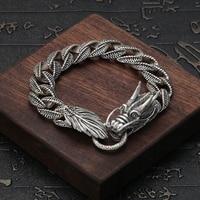 Fashion Men's Bracelet 925 Sterling Silver Bracelet Vintage Chinese Style Animal Chain & Link Bracelets Dragon Silver Bracelet