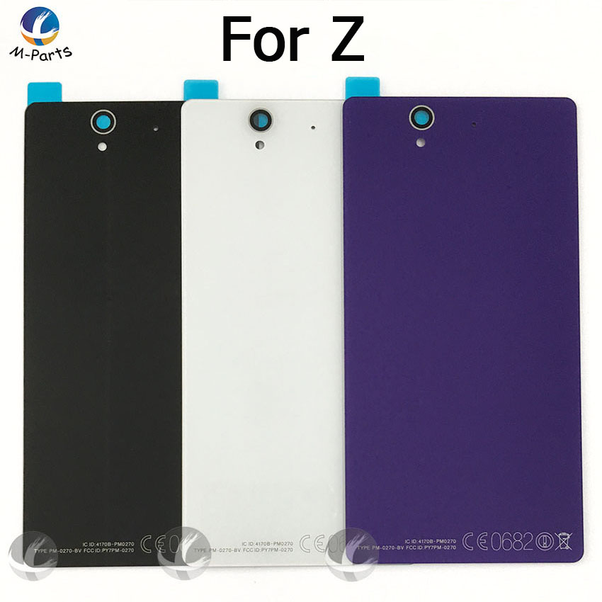 Back Rear Glass Cover Housing For <font><b>Sony</b></font> For <font><b>Xperia</b></font> <font><b>Z</b></font> L36H L36 C6603 <font><b>C6602</b></font> <font><b>Battery</b></font> Door Lid Shell Case Replacement +LOGO +Adhesive image