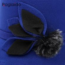 Raglaido Leaves Brim Fedora Felt Hats for Women