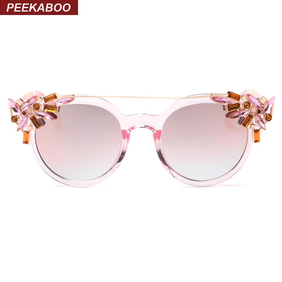 Aliexpress.com : Buy Peekaboo Luxury fashion rhinestone cat eye sunglasses women designer ...