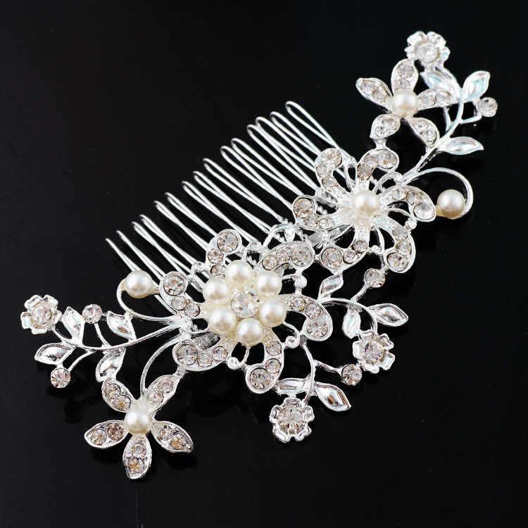 Новинка 2019, свадебный головной убор, искусственный жемчуг, аксессуары для волос для невесты, Хрустальная корона, цветочный узор, элегантная заколка с украшениями