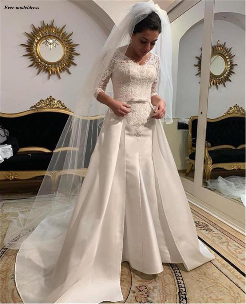Beautiful V-Neck Lace Satin Mermaid Wedding Dresses With Sleeves Garden Mariage Gowns With Detachable Train vestido de novia