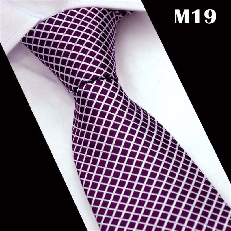 SCST 2017 New Brand Designer White Plaid Prnt Purple Gravata Slim Neck Ties For Men Tie Silk Wedding Neckties Mens Necktie CR031