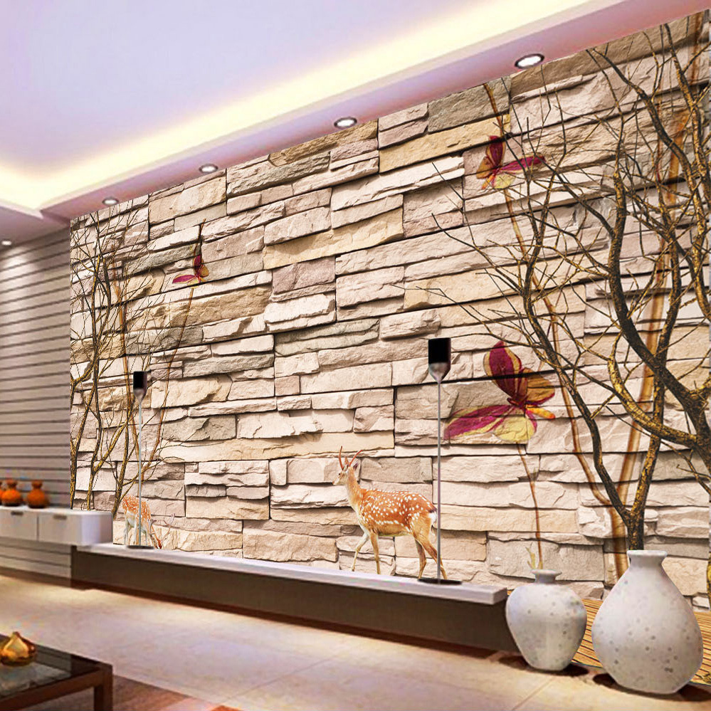 Home improvement modern 3d embossed brick stone wallpaper for 3d stone wallpaper for living room