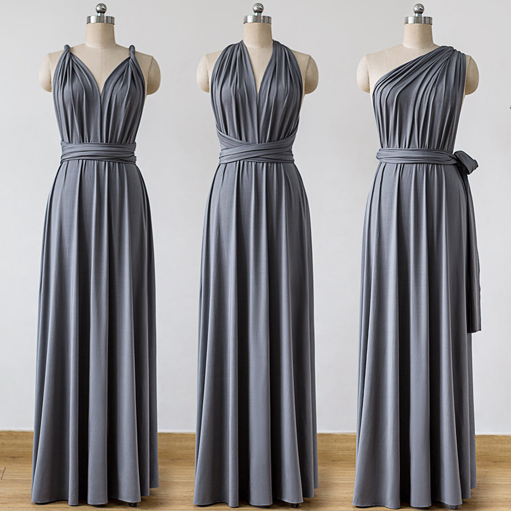 Jersey Convertible   Bridesmaid     Dresses   Custom Made Charcoal Grey V Neck Maxi Infinity Floor Length Sleeveless Multiway