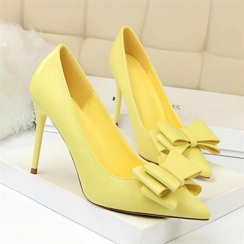 ... 2019 Woman Fetish 10cm High Heels Scarpins Shoes Female Blue Pink  Yellow Escarpins Heels Talons Stiletto ... 299d66ad9ec9