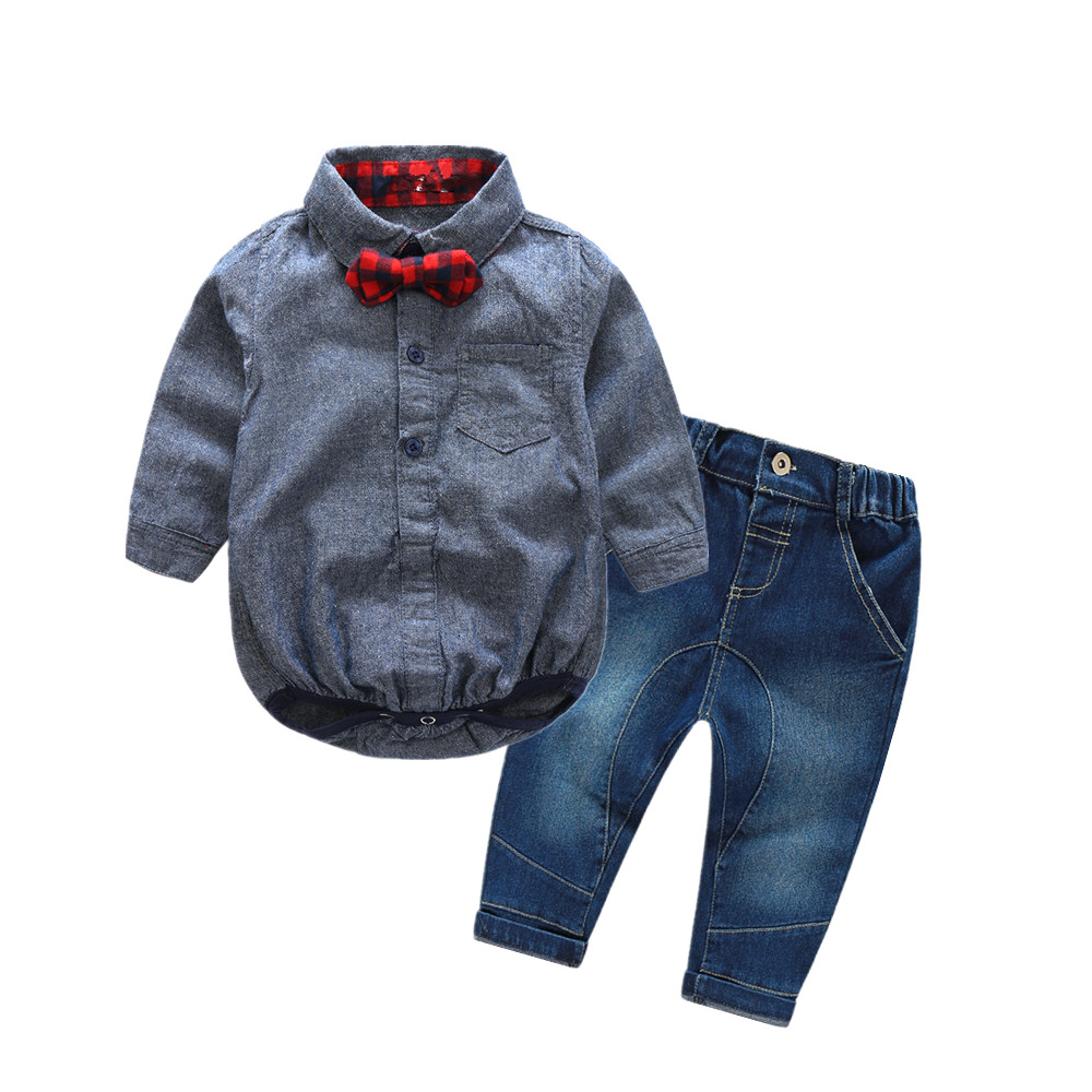 2016 christmma new born boy clothes shirt romper + casual pants strap withe bow baby boy fashion clothing set newborn clothes baby boy clothes monkey cotton t shirt plaid outwear casual pants newborn boy clothes baby clothing set