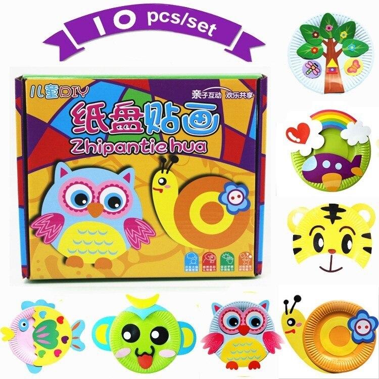 10 teile/satz EVA DIY Cartoon Handwerk Kinder Spielzeug Handwerk Tier Puzzle Papier Fach Malerei Rucksack Kreative Bildung Spielzeug