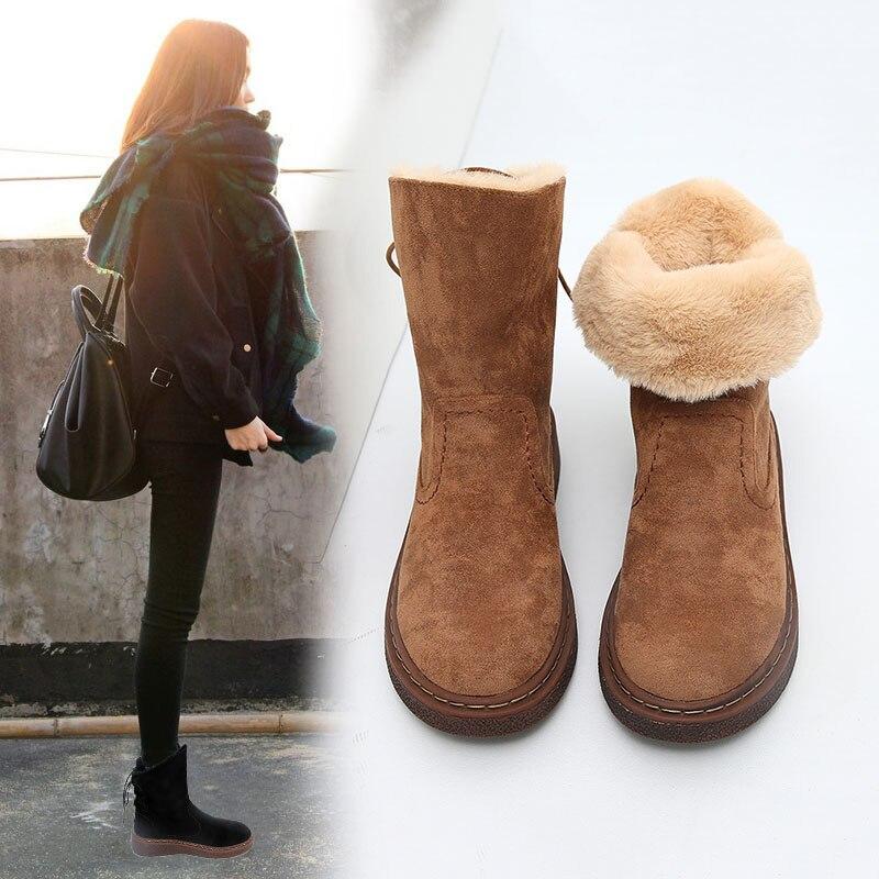 Mujeres marrón Negro La Nieve Moda De Además Cálido Terciopelo Alto Nuevo Grueso Para Algodón Tacón Zapatos Cómodos Invierno Botas Las BxRxwOHCq