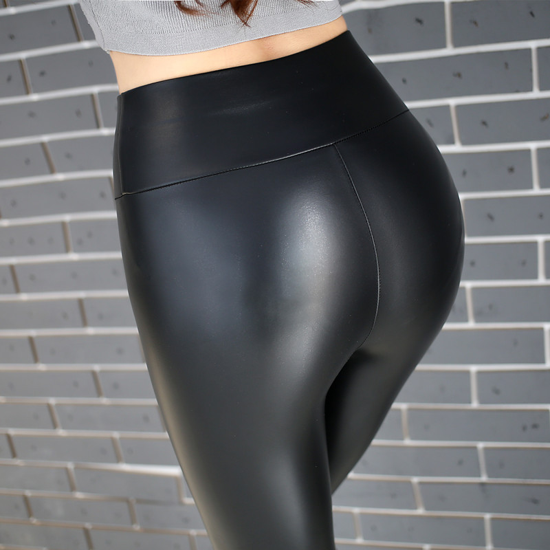 BOOCRE 2017 High Waist Fitness Spring/Autumn   Leggings   Thin Leather   Leggings   Plus Size Stretch Fashion Warm PU   Leggings