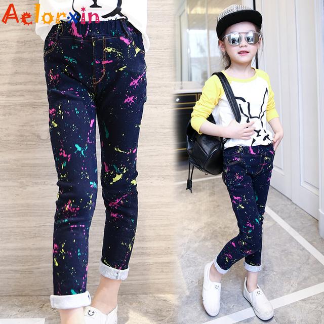 Calças de Brim meninas Marca Primavera Crianças Calças Jeans para Meninas Da Moda Casual Crianças Roupas para Meninas Dos Desenhos Animados Bonito Calça Jeans para Meninas 3-12