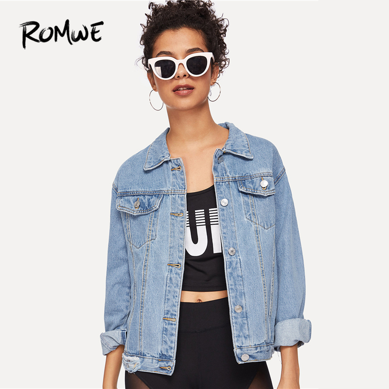 ROMWE Ripped Button Bleach Wash Pocket Front Denim Jacket Ladies Spring Autumn Blue Plain Clothing Collar Long Sleeve Outerwear