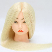 60% Real Animal Hair Training Head 60cm Blonde For Salon Hairdressing Mannequin Dolls Styling Can Be Curled